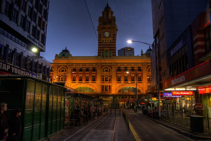 Flinders Street Station at the end of a long day of sightseeing.