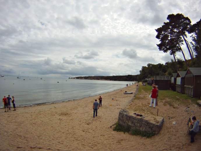 A cloudy but calm summer day at Studland Beach South