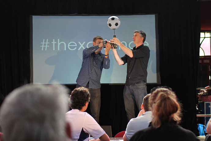 Spinning a football on a drill at The Xchange BSF 2012