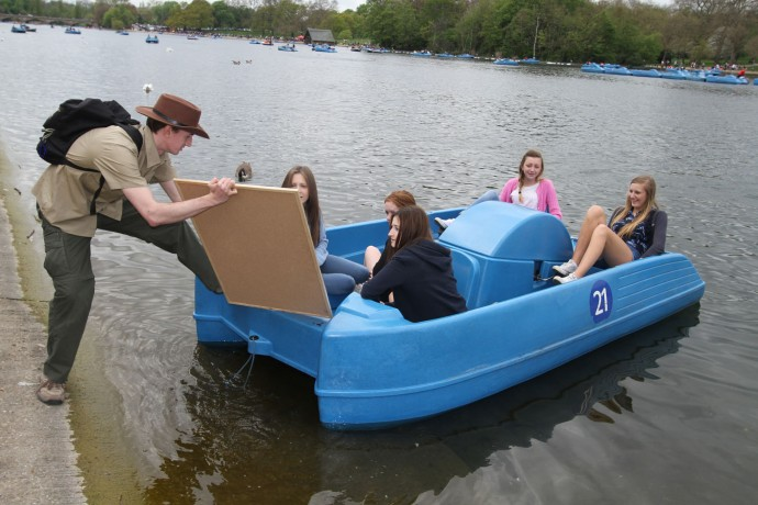 An image of a pedalo boat in the Serpentine