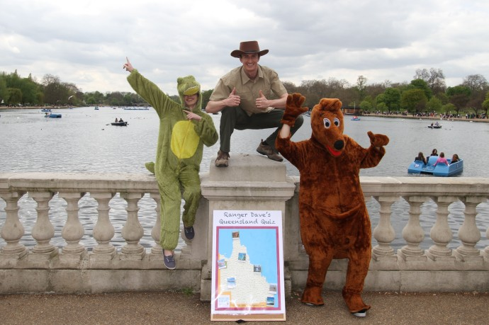 An image of Dave and animals in front of the Serpentine lake