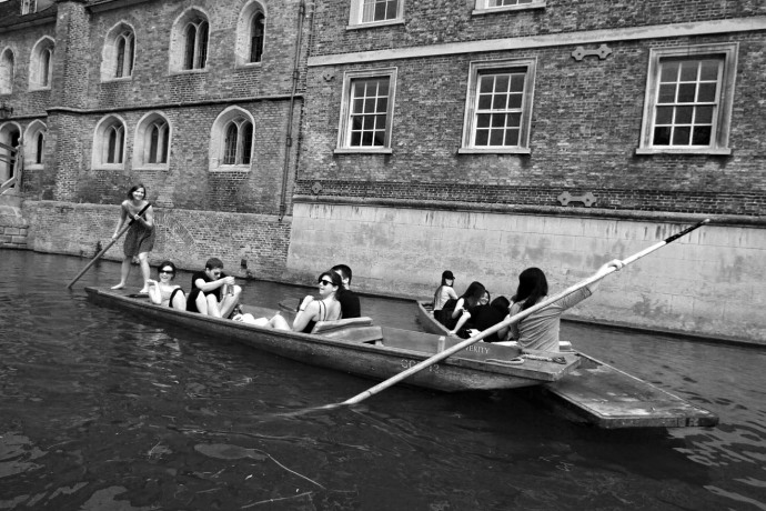 An image of a punting collision in Cambridge.