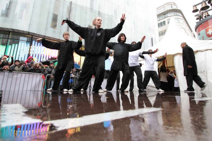 An image of the JASMA demo team doing Tai Chi in Leicester Square